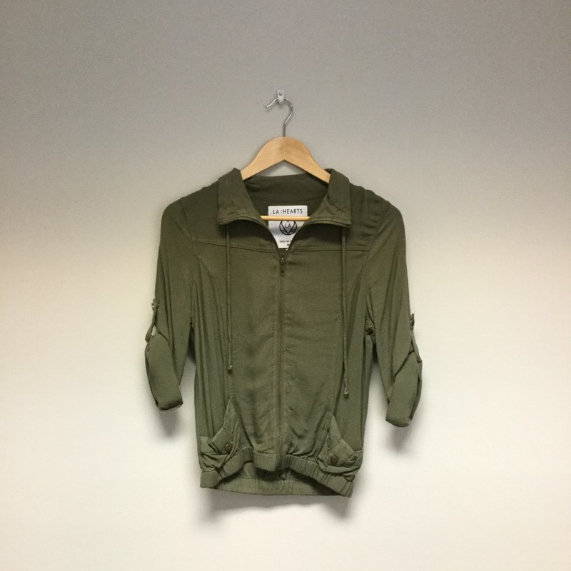 LA Hearts 3/4 Sleeve Jacket<br /> Size M<br /> Army Green<br /> $13.50