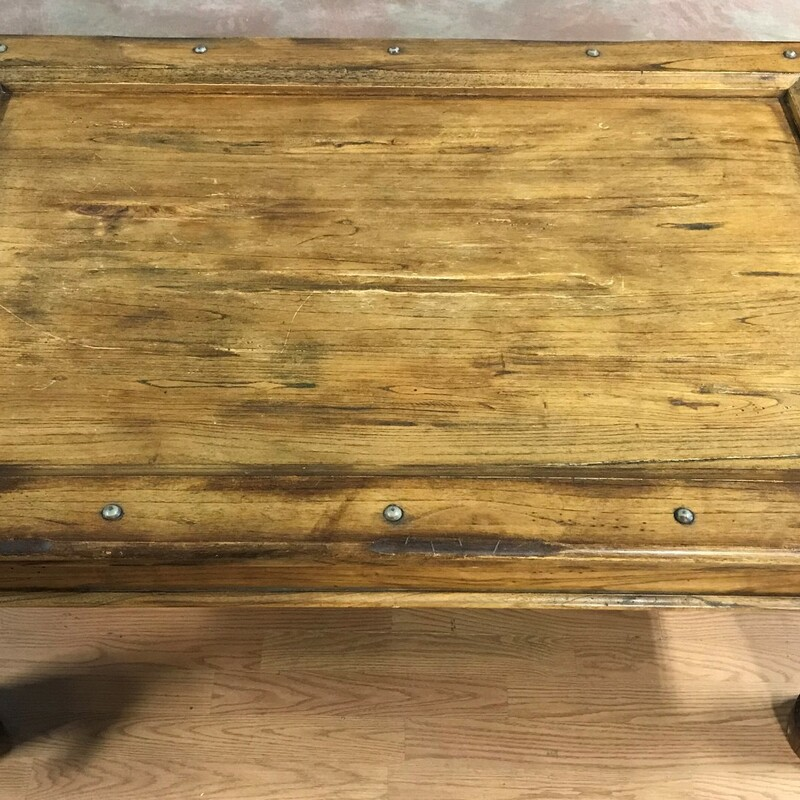 "Rustic Coffee Table, Medwood, Nailheads<br /> Size: 52"" x 36\"" x 21\"""