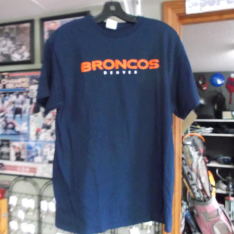 Denver Broncos NFL Adult T shirt blue size large 100% cotton Delta #7887<br /> Rating:   (see below) 3 - Good Condition<br /> Team: Denver Broncos<br /> Player: Team Logo<br /> Brand: Delta Pro Weight<br /> Size: Large Adult (MEASURED FLAT - chest 19&quot;; length 27&quot;) armpit to armpit and top of shoulder to bottom hem<br /> Color: Blue<br /> Style: screen pressed t shirt; Buick sponsorship on the back<br /> Material: 100 cotton<br /> Condition: - Good Condition - wrinkled; pilling; minor fading of the fabric; no holes or rips;  (See Photos for condition and description)<br /> Shipping: $3.37 <br /> Item#: 7887