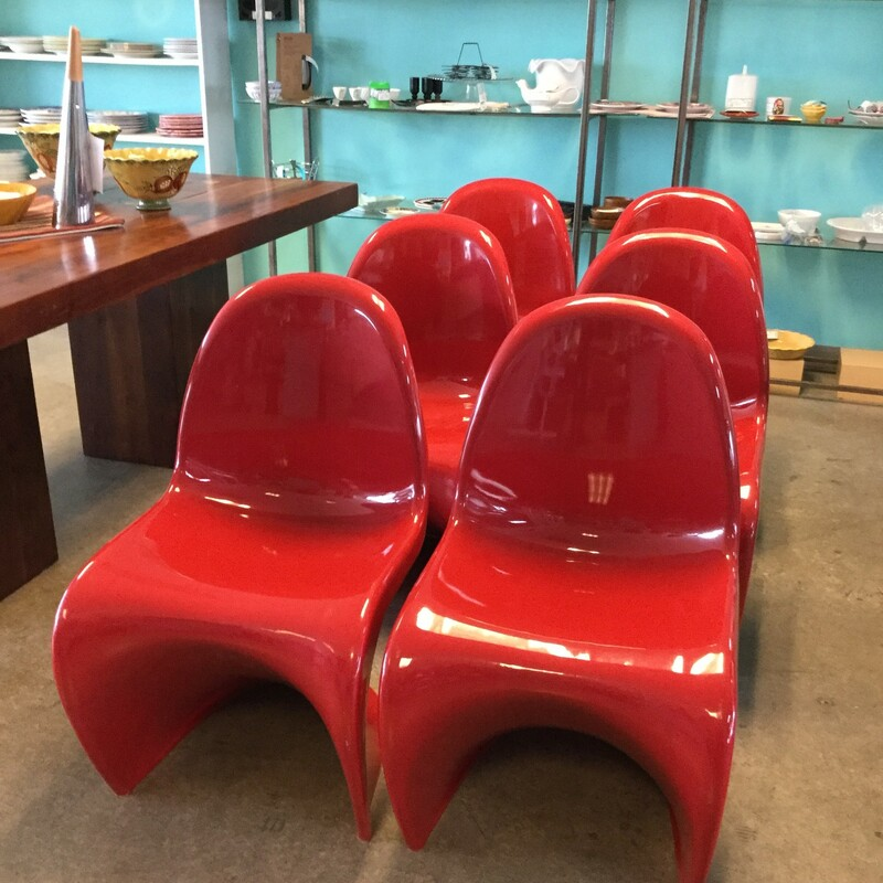 "Panton Chairs Replica, Set 2, 6 Chairs Available, Red, Size: 19""X22\""X32\"""