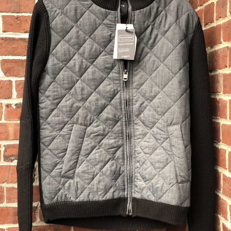 7 Diamonds Quilted Jacket, Gray, Size: Small<br /> sweater sleeves, new with tags