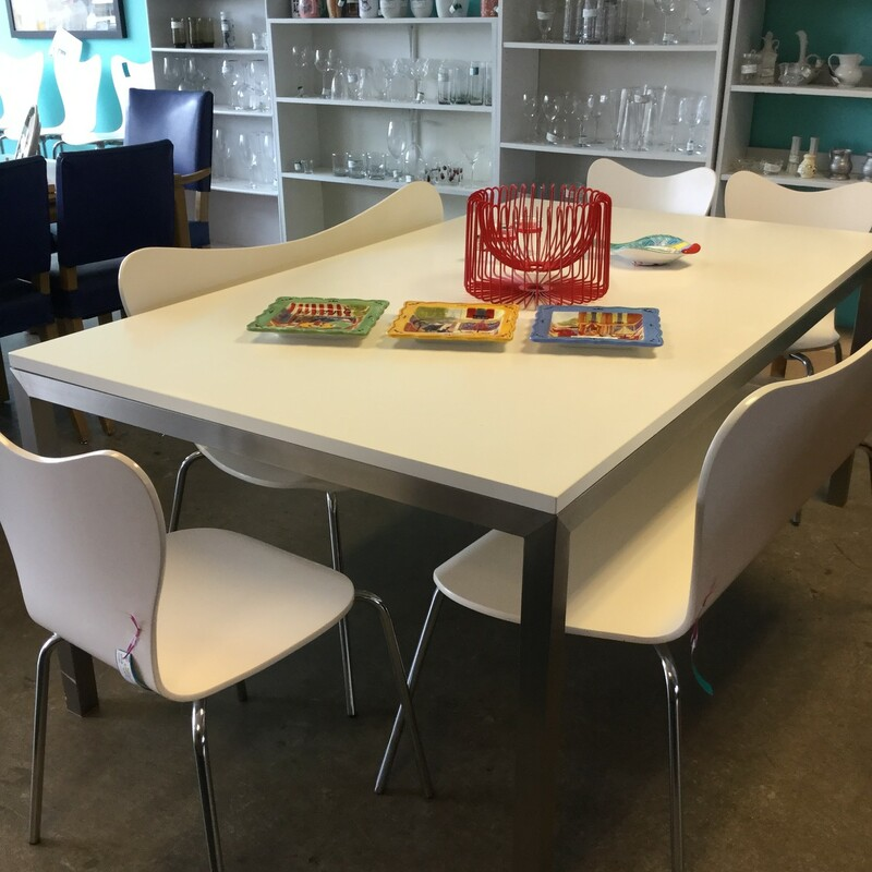"Crate & Barrel Dining Table, White, Chrome Legs Size: 72""X42\""X29\"""
