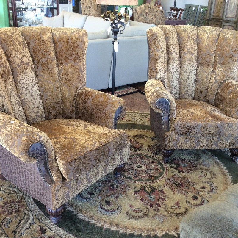 These CUSTOM beauties came in with the 2 PAUL ROBERTS Sofas. The upholstery is a gorgeous amber and brown brocade, with a coordinating brown fabric on the chair backs. There are pretty nailhead accents around the arms, too.