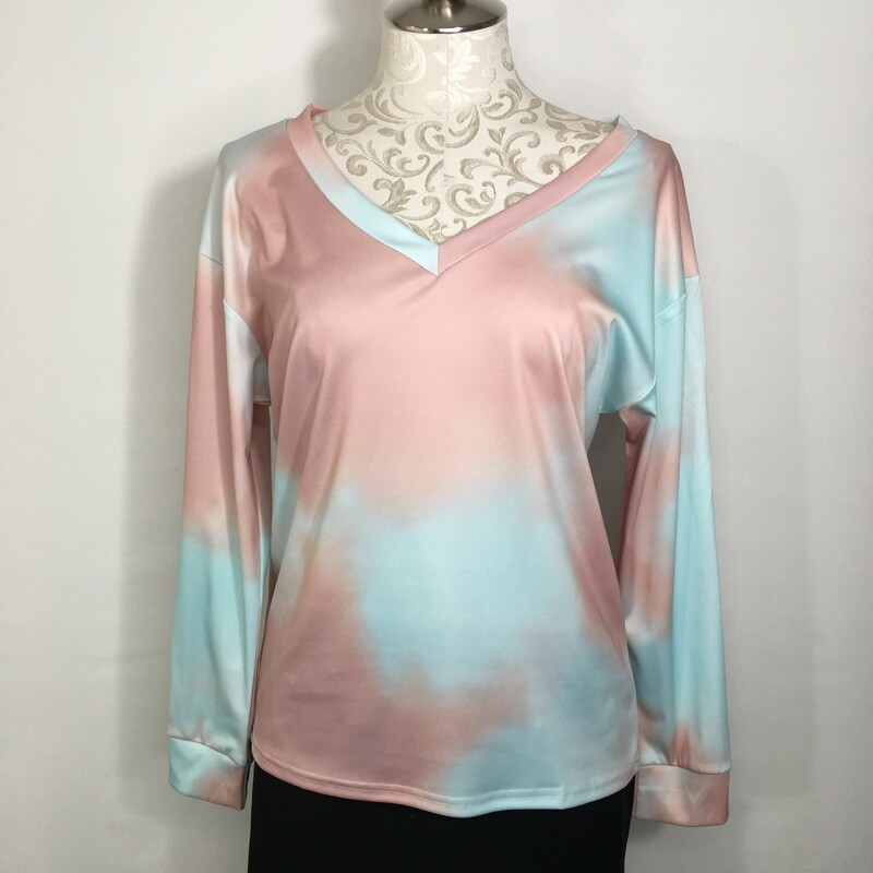 120-417 No Tag, Blue And, Size: Medium<br /> long sleeve blue and pink tie dye v neck shirt no tag  good