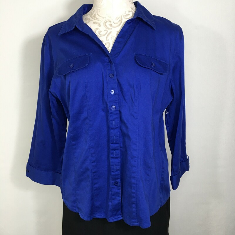 125-069 Dressbarn, Blue, Size: XL royal blue button up blouse 97% cotton 3% spandex  good