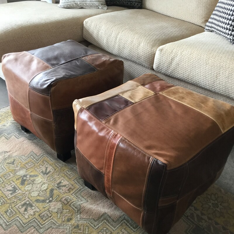 "Leather Stool, Patchwork, 2 Available, Size: 20""X20\""X16\"""