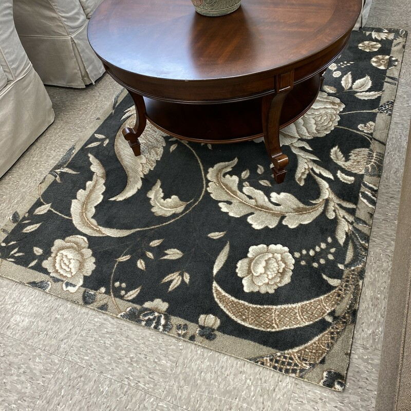 Waverly Floral Rug, Brown, Size: 4x6 Inch