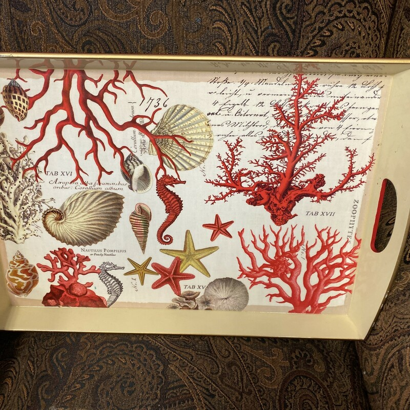Decoupage Wooden Tray, Red, Size: 20x14