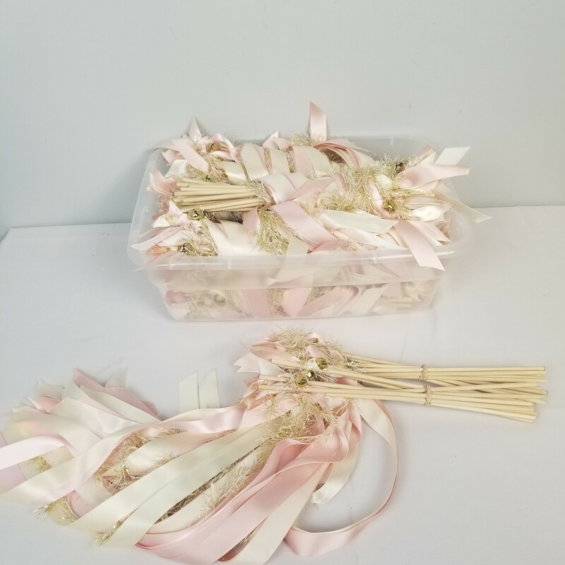 "20pc Shaker Wands, Ivory/Pink, Size: 20 Pc<br /> <br /> Each Wand 12"" Long- 3 Types of Ribbon with a Gold Bell"