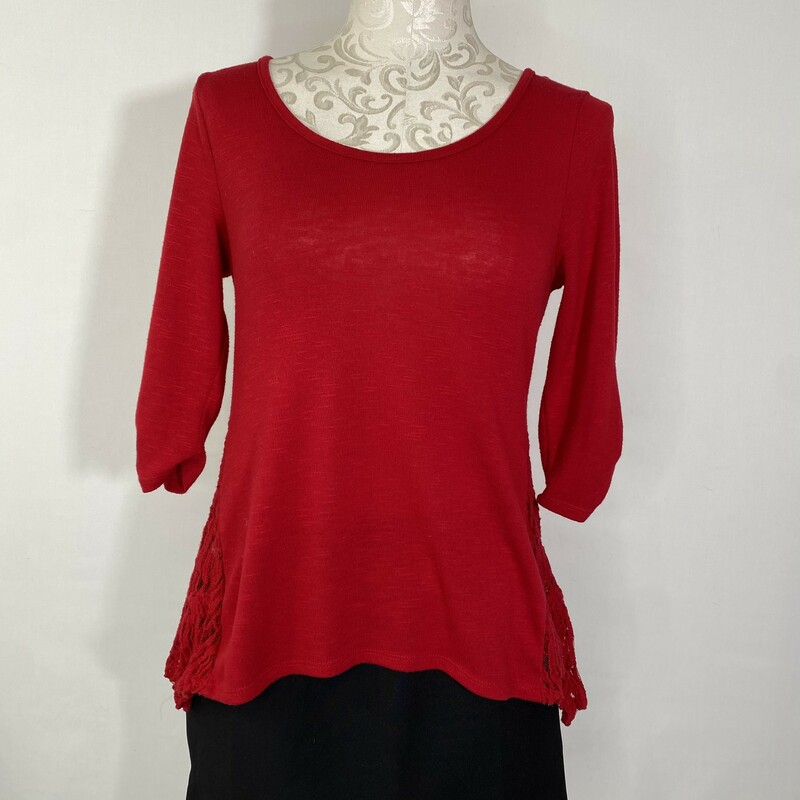 110-143 Iz Byer Cross Bac, Red, Size: Small lace sides and mid length ruched sleeves
