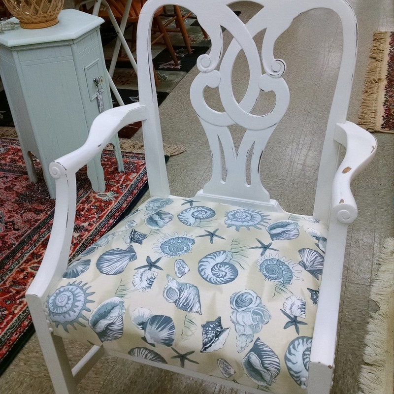 4 Painted Dining Chairs, White, Size: None