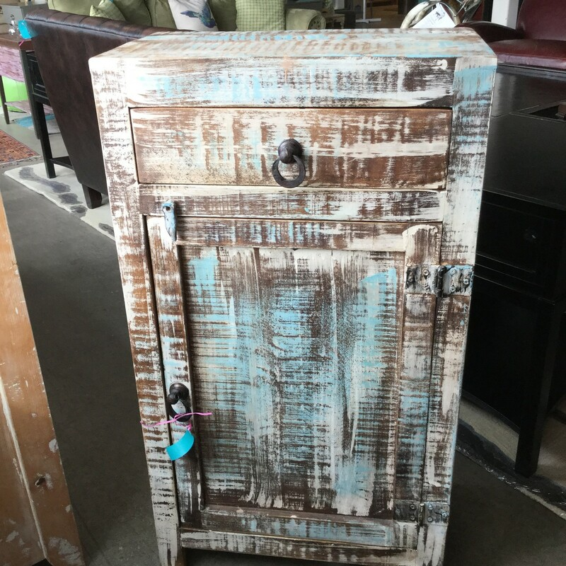 "Painted Cabinet, One Drawer, Blue & Brown Wood, Size: 22""X13\""X40\"""