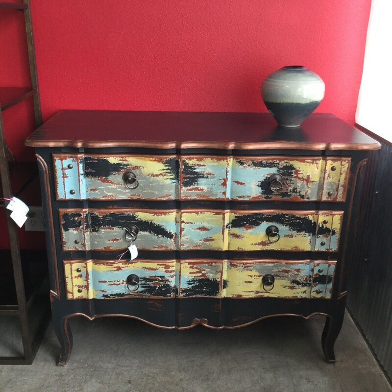 "Funky Style Dresser, Black, Turquoise, Gold, Size: 46""X21\""X36\"""