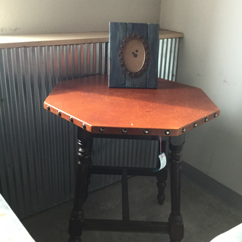 "Leather Top Octagon Table, Brown Wood, Size: 24""x27\"""