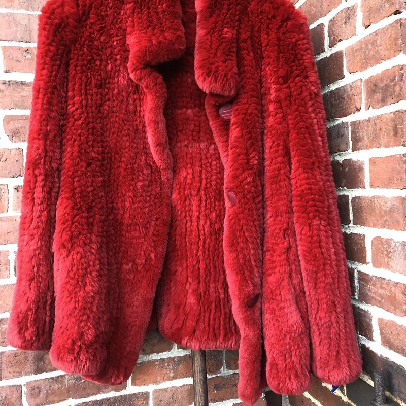 RABBIT FUR JACKET, RED, Size: Medium<br /> This luxe rabbit fur coat is spectacular! Its the ultimate in warmth and softness, and it has pockets! Chest measurements 38&quot;, length 26&quot;. Button closure