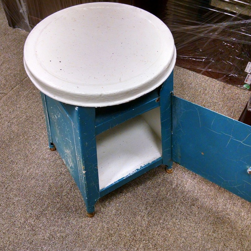 Painted Metal Stool, Blue, Size: None