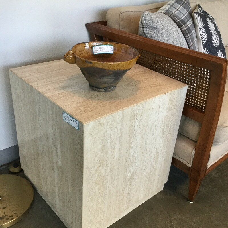 "Travertine Cube Table, Cream, Size: 20"" Square"