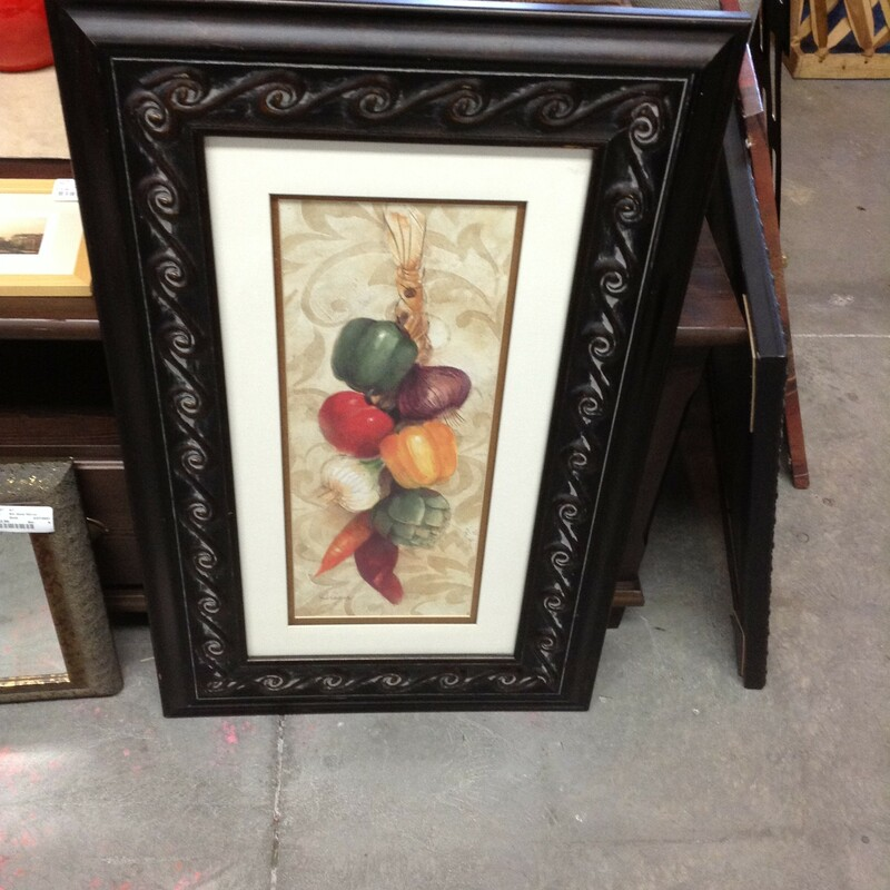 "Vegetable Ristra Print, Black, Peppers, Onion, Tomato, Artichoke, Chili<br /> 20"" wide x 32\"" tall"