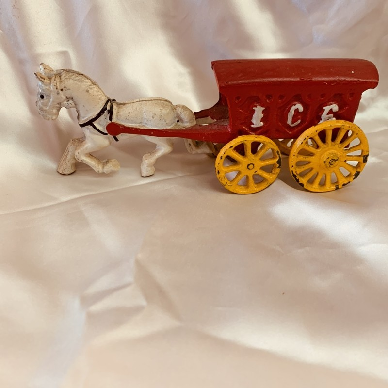 Cast Iron Horse/Ice Wagon. Good Condition