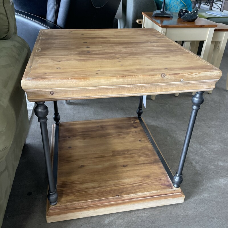 "LaSalle Metal & Wood Table, C. Collection, Size: 25""X23\""X24\"""