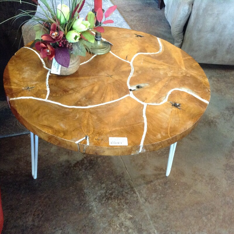 "Stump Piece Coffee Table, Wood, White  Metal Legs<br /> 32"" wide x 19\"" tall"
