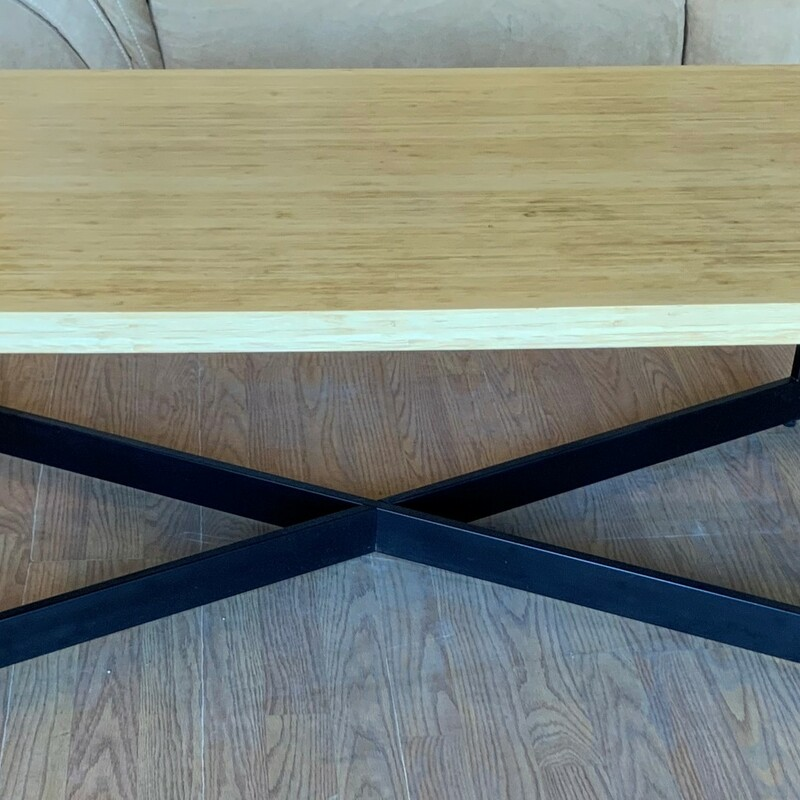 "Coffee Table Bamboo/metal, None, Rectangle<br /> Size: 45"" x  24\"" x 18\"""