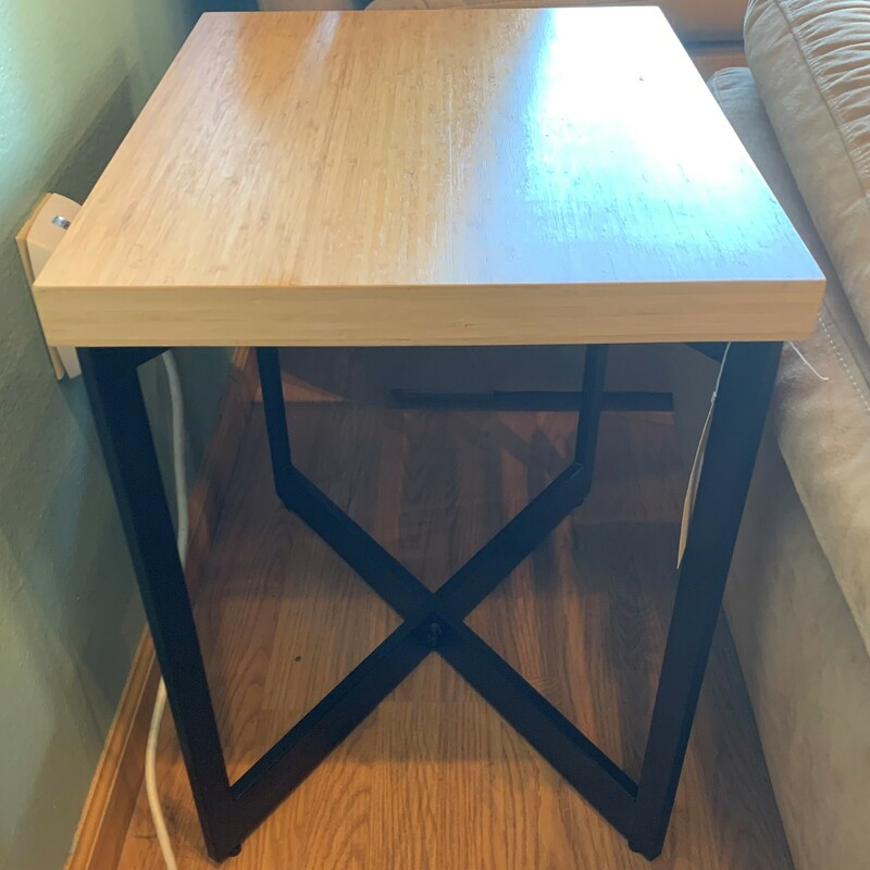 "Bamboo/Metal Side Table, Rectangle<br /> Size: 23"" x 22\"" x 17\"""
