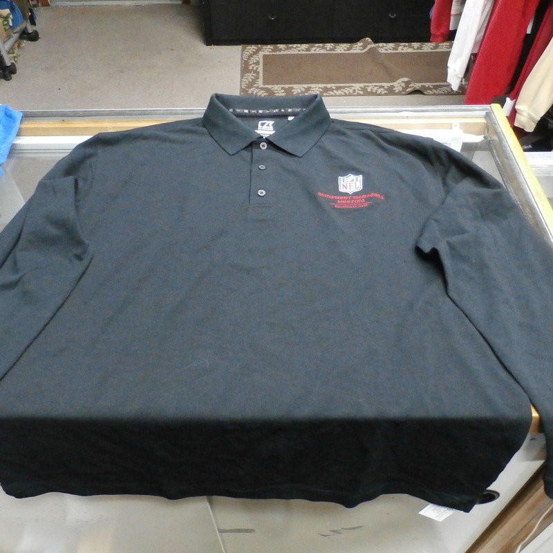 "NFL Equipment Managers Meeting Nashville 2013 Long Sleeve Polo XL Black #27165<br /> Rating: (see below) 2 - Great Condition<br /> Team: N/A<br /> Event: Managers Meeting Nashville 2013<br /> Brand: Cutter & Buck<br /> Size: Men's XL - (Measured Flat: Across Chest 24""; Length 32"")<br /> Measured Flat: armpit to armpit; top of shoulder to bottom hem<br /> Color: Black<br /> Style: Long Screen Embroidered polo shirt<br /> Material: 60% Cotton 40% Polyester<br /> Condition: 2 - Great Condition: material looks and feels great; clean and crisp; lightly used<br /> Item #: 27165<br /> Shipping: FREE"