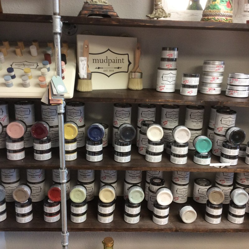 If you like(d) chalk paint, you are going to love MUDPAINT! It is water-based and ultra thick, so can be thinned down, if desired. Stop by and see all the colors they offer! The prices on these items run between $10.45 and $38.95 each.