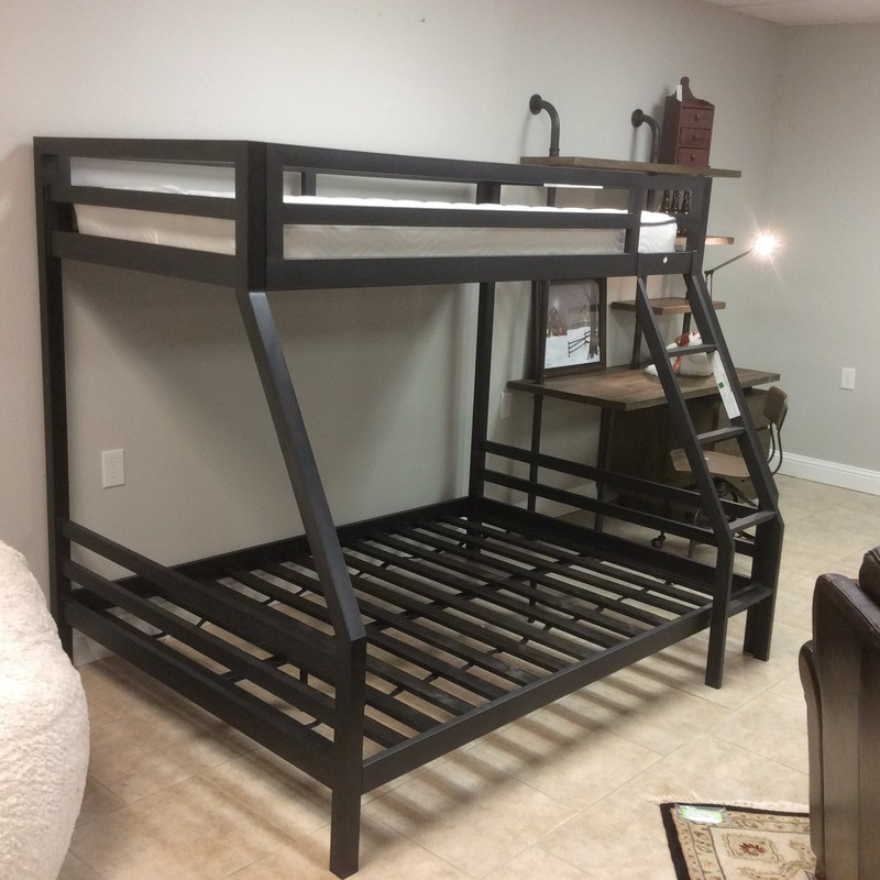 Another awesome piece by Restoration Hardware! This black metal bunk bed set features a full on the bottom and a twin on the top.