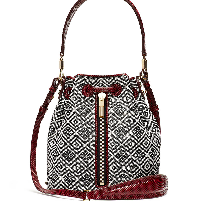 LIKE NEW Elizabeth &amp; James Cynnie Woven Mini Bucket Bag, Black/White<br /> <br /> &quot;Elizabeth and James &quot;Cynnie&quot; bag in basket-woven fabric (cellulose/viscose) with lizard trim.<br /> Shoulder strap with lobster clips, 7.1&quot; drop.<br /> Adjustable, removable crossbody strap, 21&quot; drop.<br /> Drawstring top cinches slouchy body.<br /> Inside, one zip and two open pockets.<br /> 9.3&quot;H x 5&quot;W x 8.7&quot;D.<br /> Bag weight: 0.5 lbs.&quot;<br /> <br /> PHoto and description credits: Neimanmarcus.com