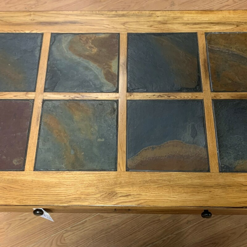 "Coffee Table W/ Slate Top, Wood, 2 Drawers<br /> Size: 48"" x 28\"" x 19\"""