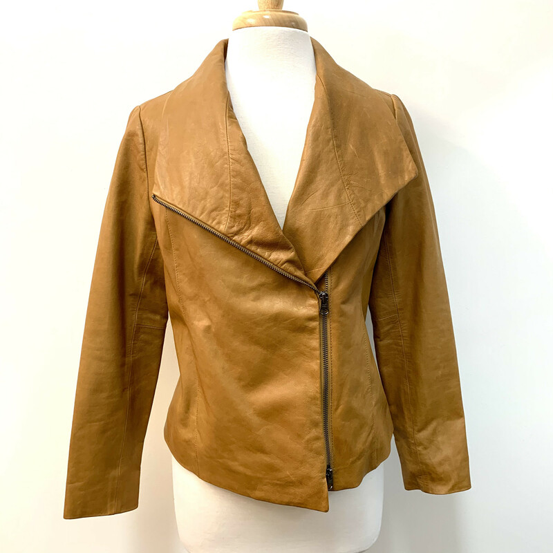 Vince. Leather Jacket<br /> Caramel Leather<br /> Size: Fits M