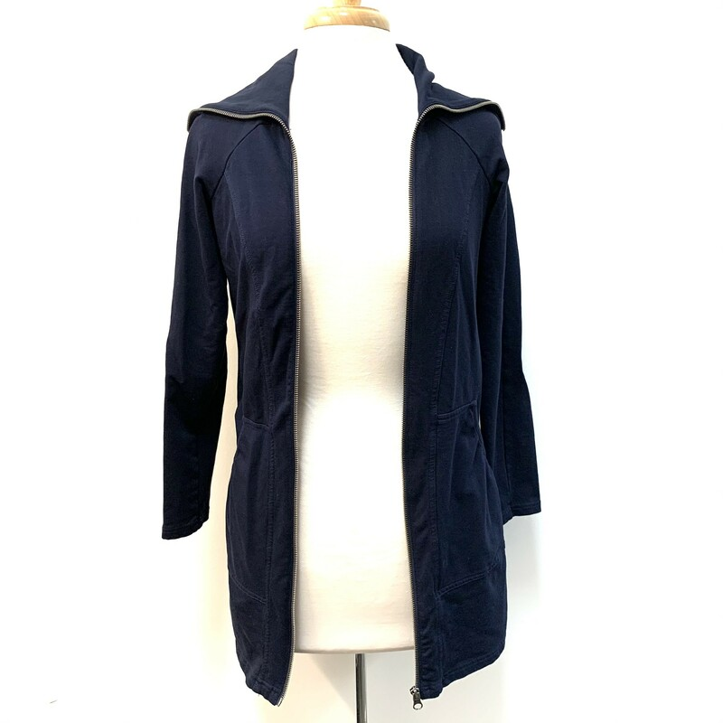 Tribal Long Jacket<br /> Zipper Detail<br /> Navy<br /> Size: Small