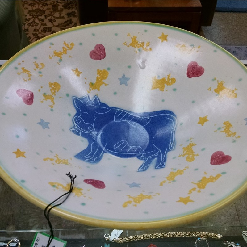 Large Cow Patterned Bowl, Pastel, Size: None