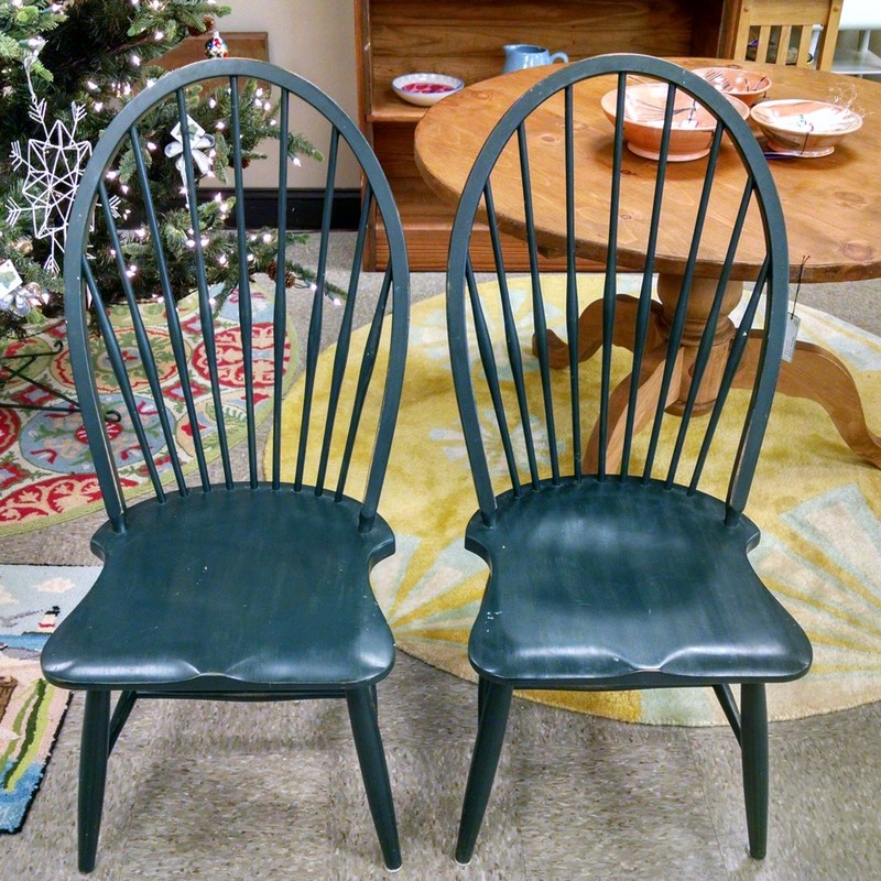 2 Painted Windsor Chairs, Black, Size: None