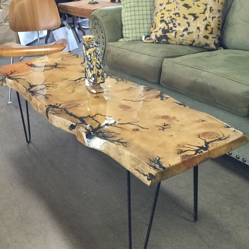 "Live Edge Coffee Table, Wood, Size: 49""X18\""X18\"""