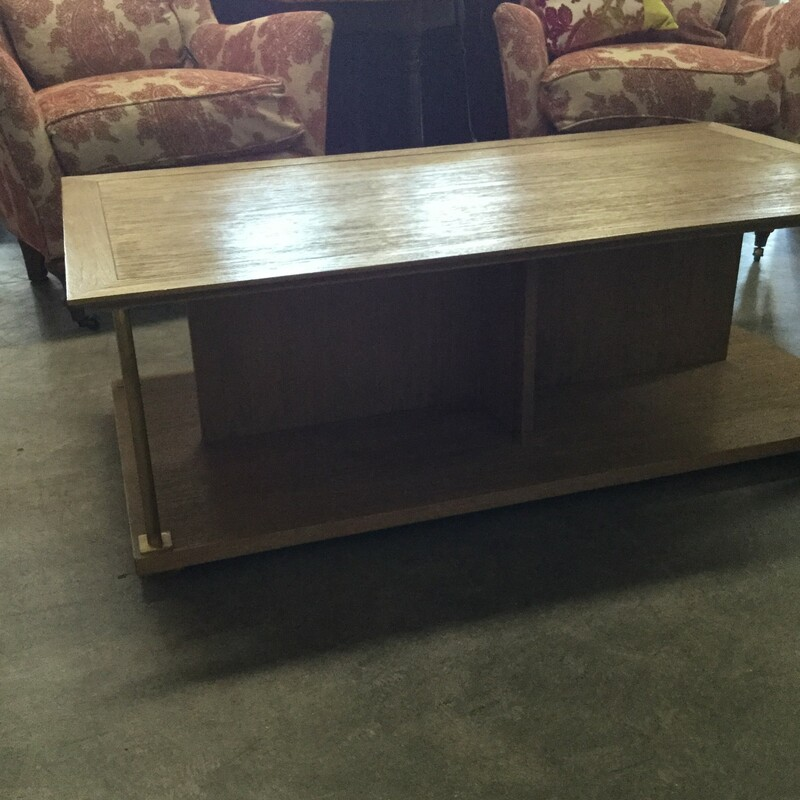 "HW Home Coffee Table, Wood & Brass, Size: 52""X28\""X17\"""