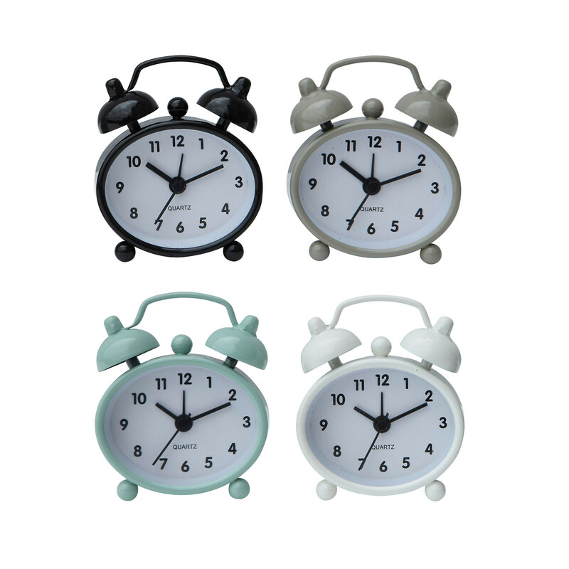"2.25"" L x 2.5\"" H metal alarm clock<br /> Battery included"