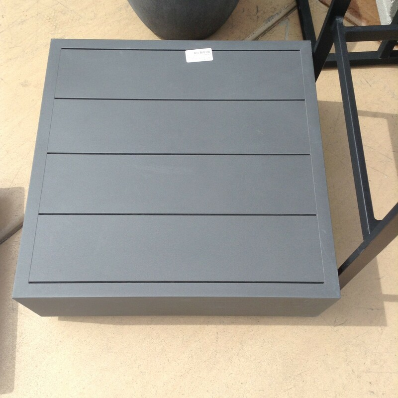 "Asian End Table, Gray Slats<br /> 22"" x 22\"" x 9\"" tall"