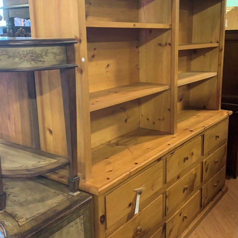 "9 Drawer Bookcase, Pine, Large<br /> Size: 84"" x 84\"" x 20\"""