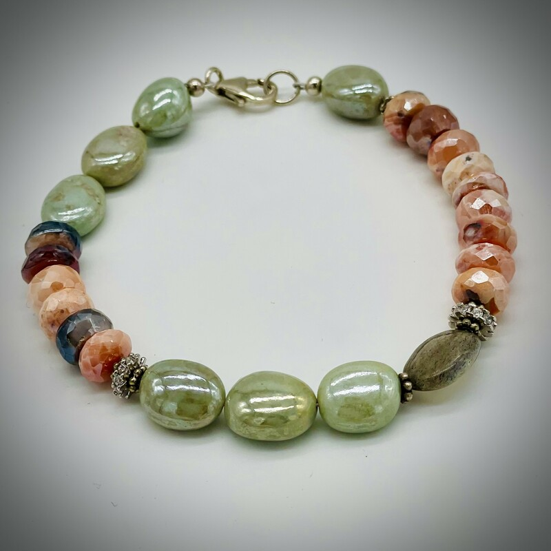 Moonstone Prenite Bracelet<br /> lobster clasp