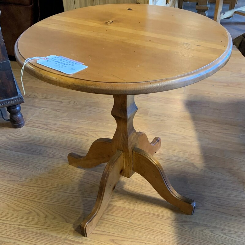 "Round Pedestal Table, Natural, Small<br /> Size: 24"" Tall, 24\"" Diameter"