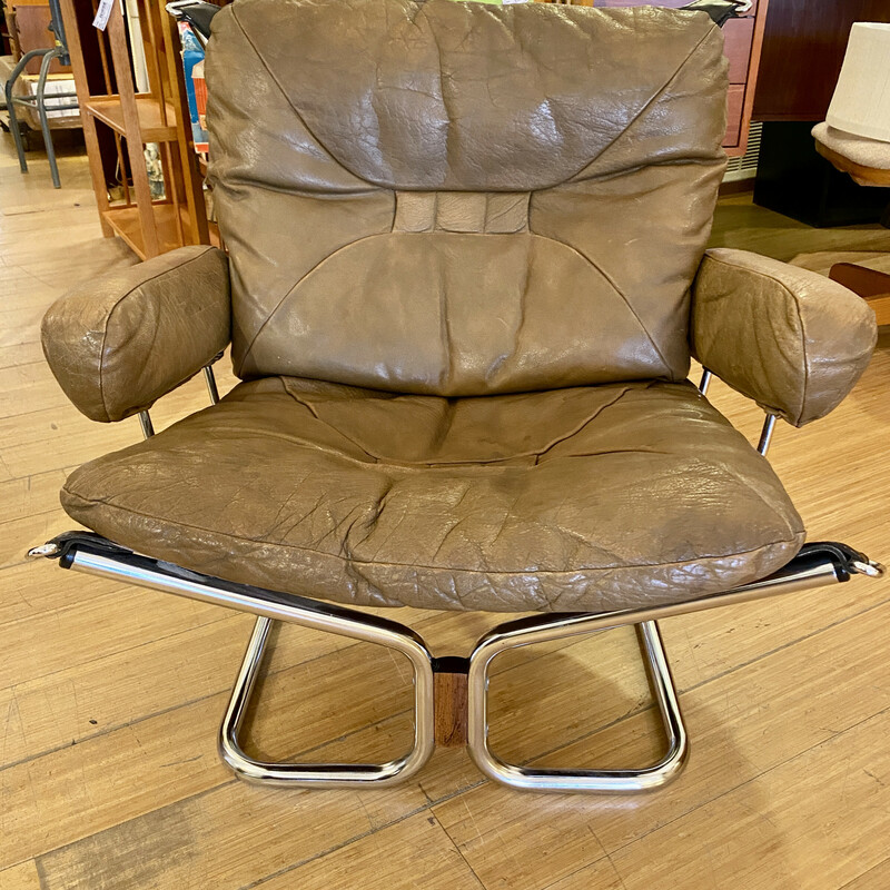 Chair Wing Westnofa Of Norway, Leather, MCM Size: 32x27x29