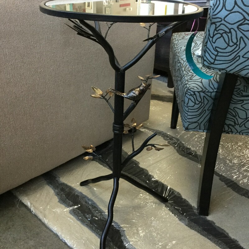 "Bird End Table, Glass & Metal, Size: 14""x24\"""