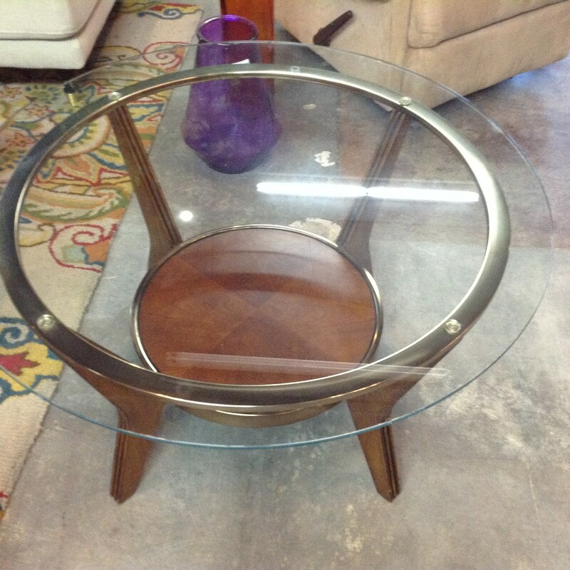 Glass Round Coffee Table, Gold, Metal<br /> 35'' wide x 20'' tall