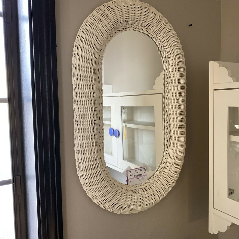 Oval Wicker Mirror.