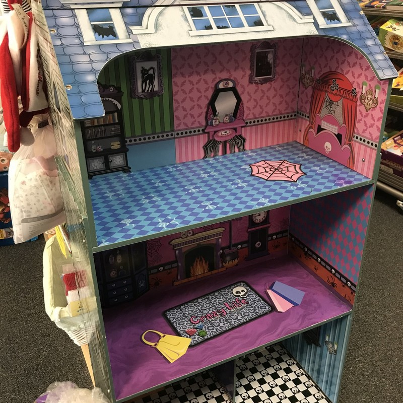 Wood Spooky Doll House, large size, with furniture, great condition.  Great for Monster High dolls