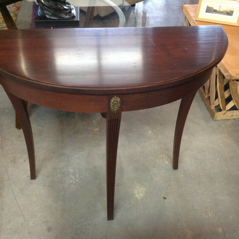 1/2 Moon Entry/Sofa Table, Wood Ethan Allen<br /> 30'' wide x 12'' deep x 29'' tall