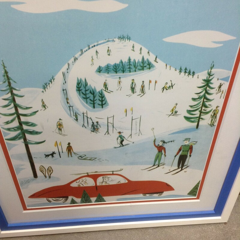 Med Red Car Skiiers, White, Framed<br /> 23'' wide x 27'' tall